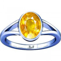 Divya Shakti 5.25 - 5.50 Ratti Yellow Sapphire Silver Ring ( Pukhraj Stone Ring ) 100 % ORIGINAL NATURAL GEMSTONE AAA QUALITY